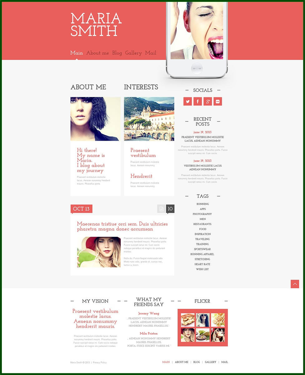 Personal Web Page Templates Free