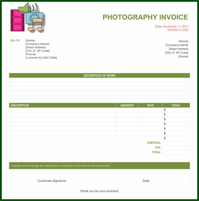 Photographer Invoice Template Word
