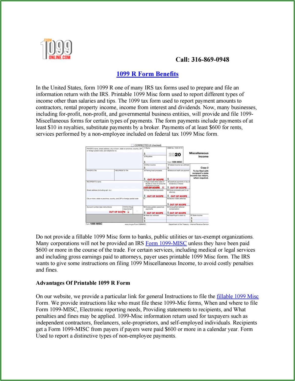Printable 1099 R Form 2020