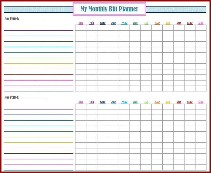 Printable Bill Tracker Template Free