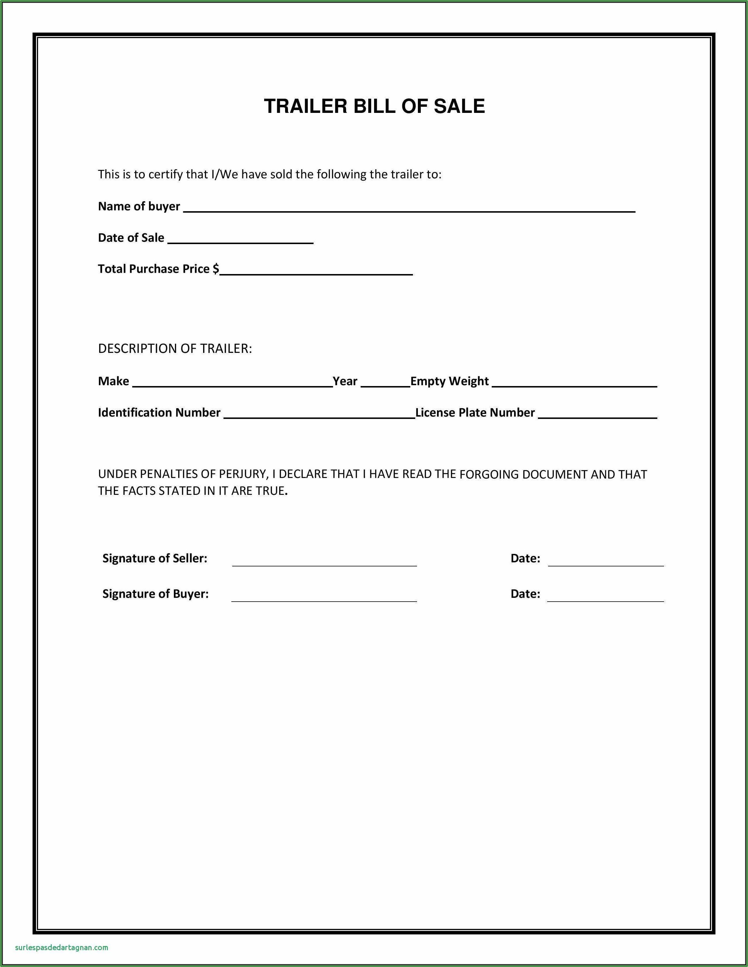 Printable Blank Car Bill Of Sale Form