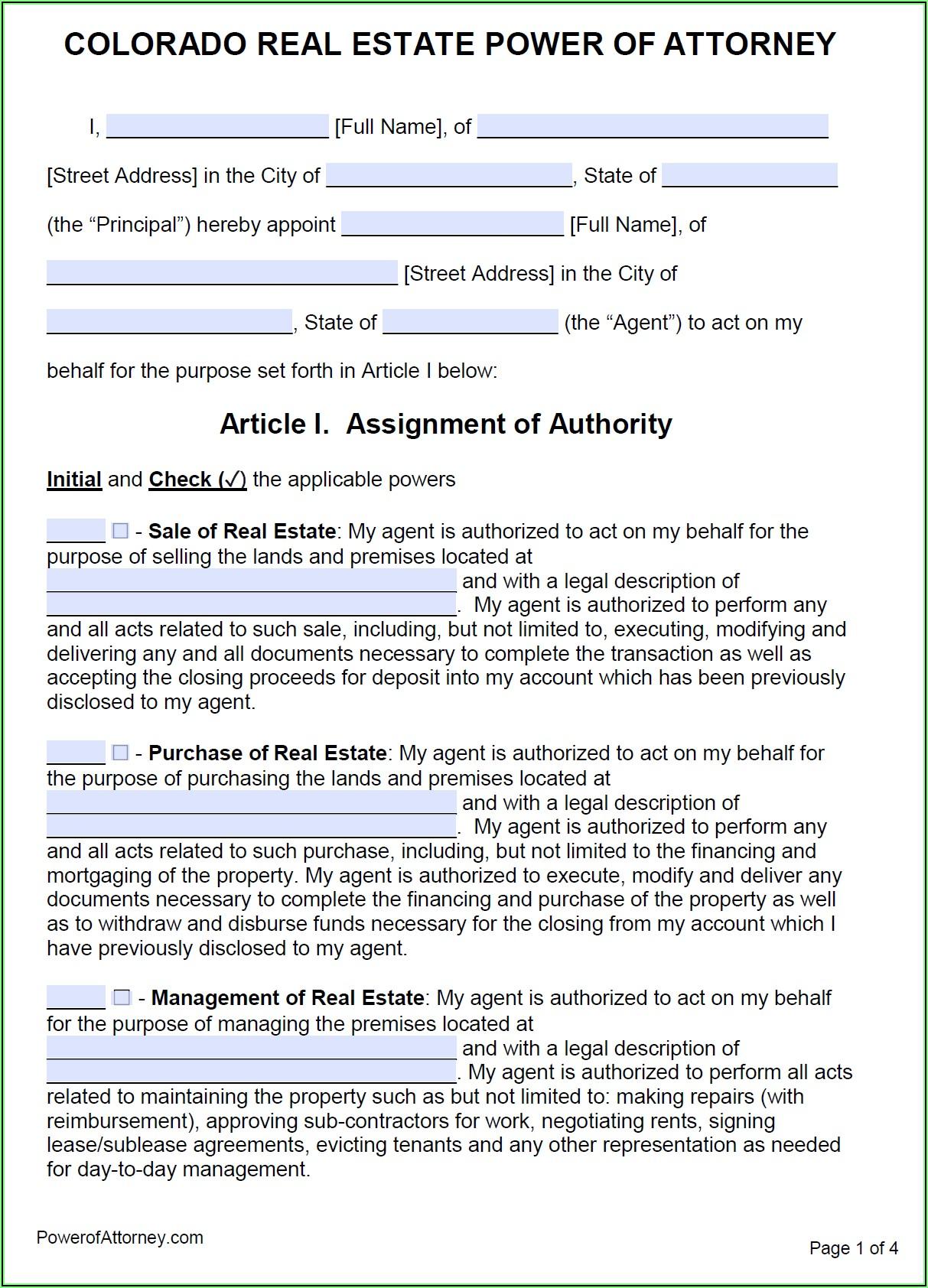 Printable General Power Of Attorney Form Colorado