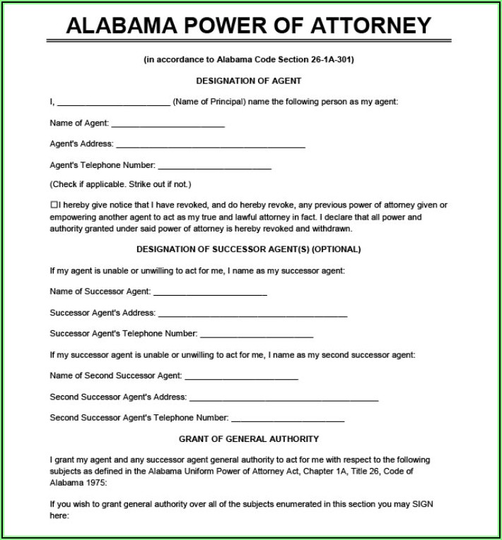 Printable General Power Of Attorney Form