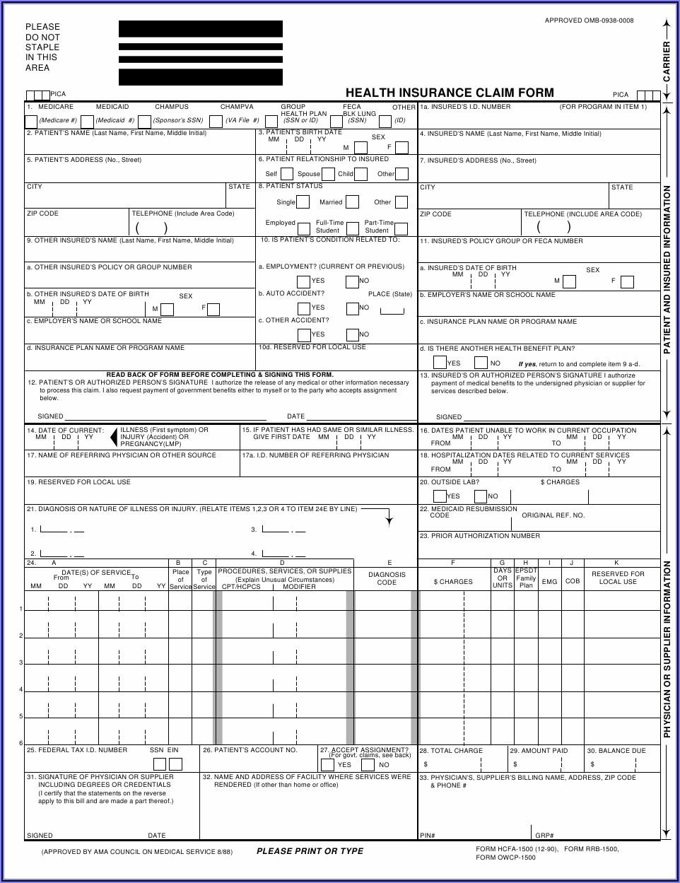 Printable Hcfa 1500 Form
