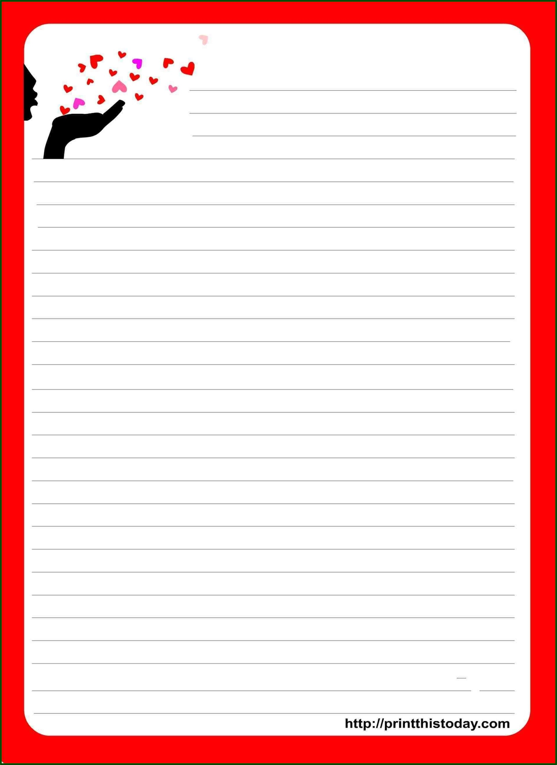 Printable Love Letter Stationery Template