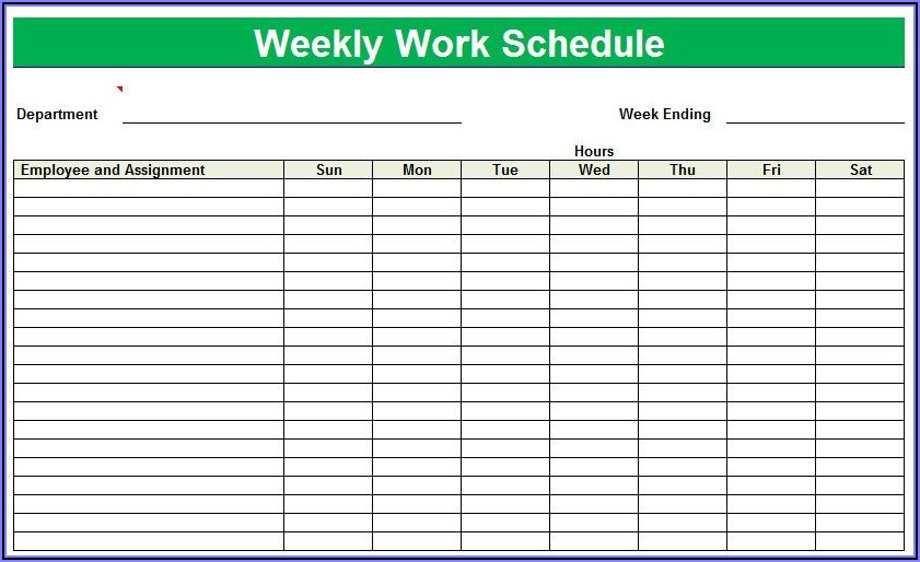 Printable Monthly Employee Schedule Template