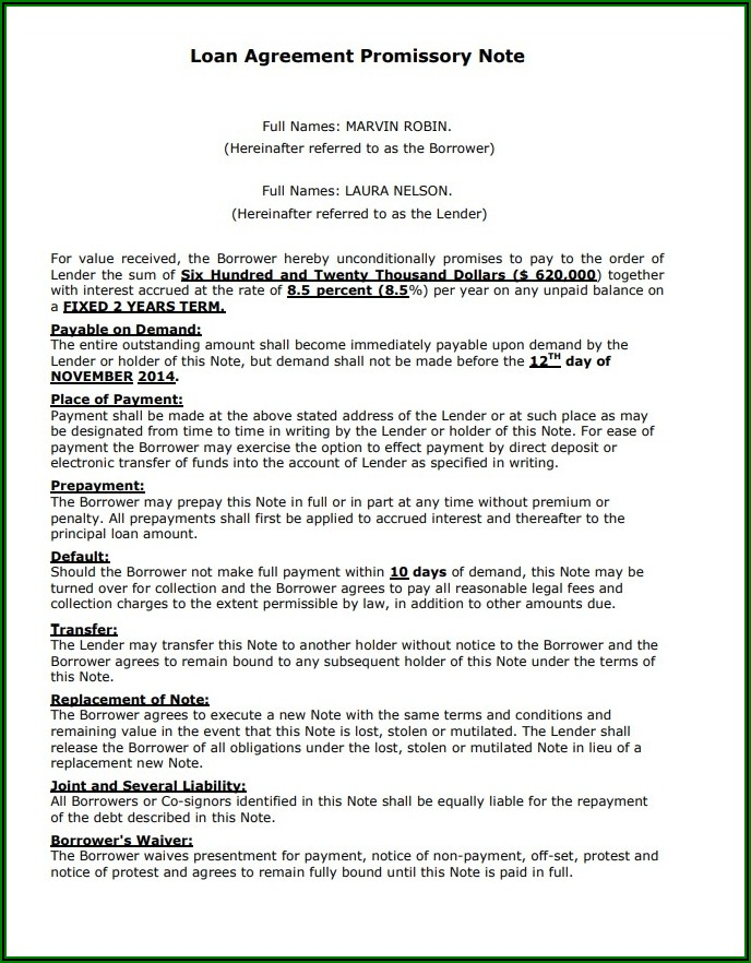 Private Promissory Note Template
