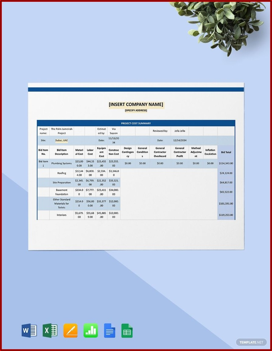 Project Cost Estimate Template Word