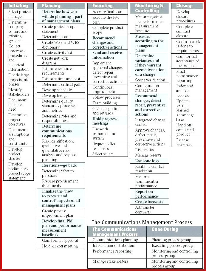Project Management Process Document Template