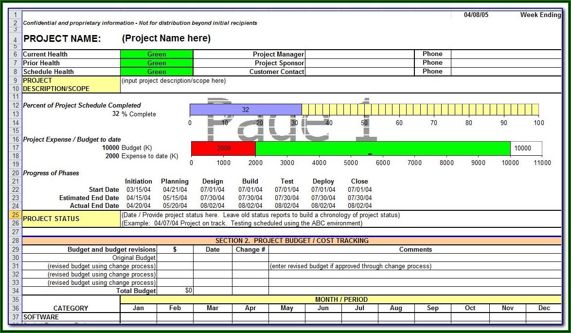 Project Progress Report Format Excel