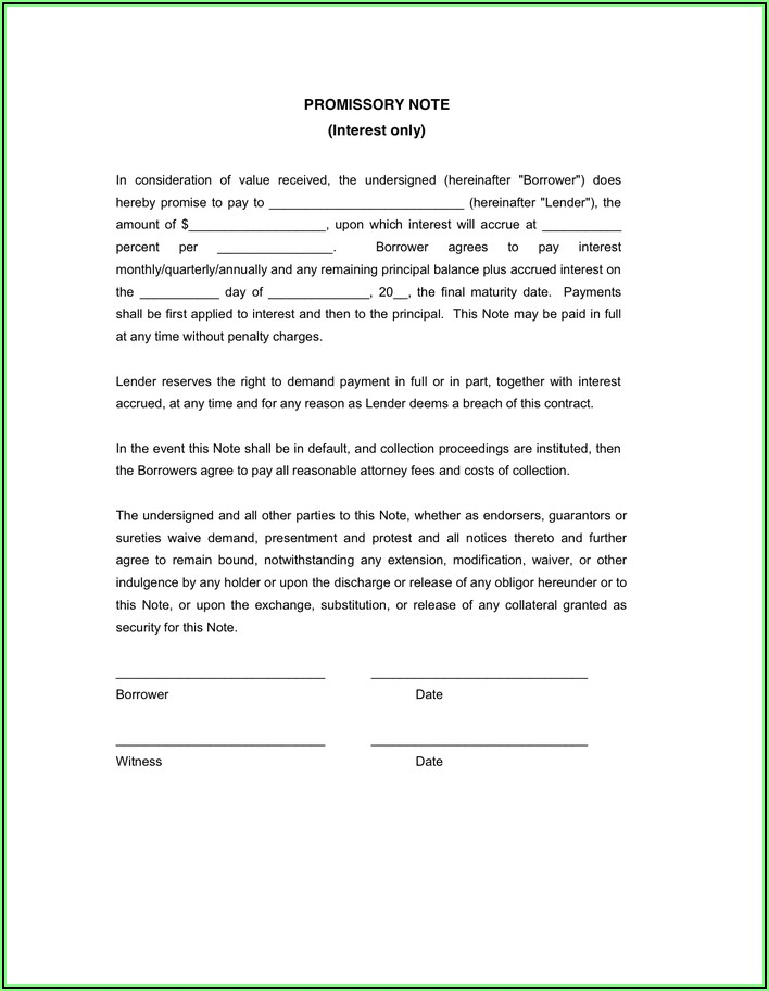Promissory Note Form California