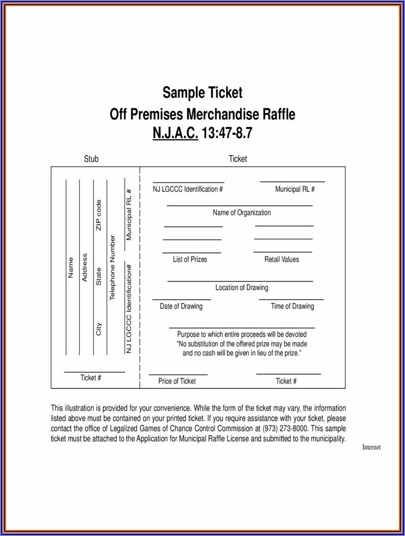 Raffle Sheet Template 1 50