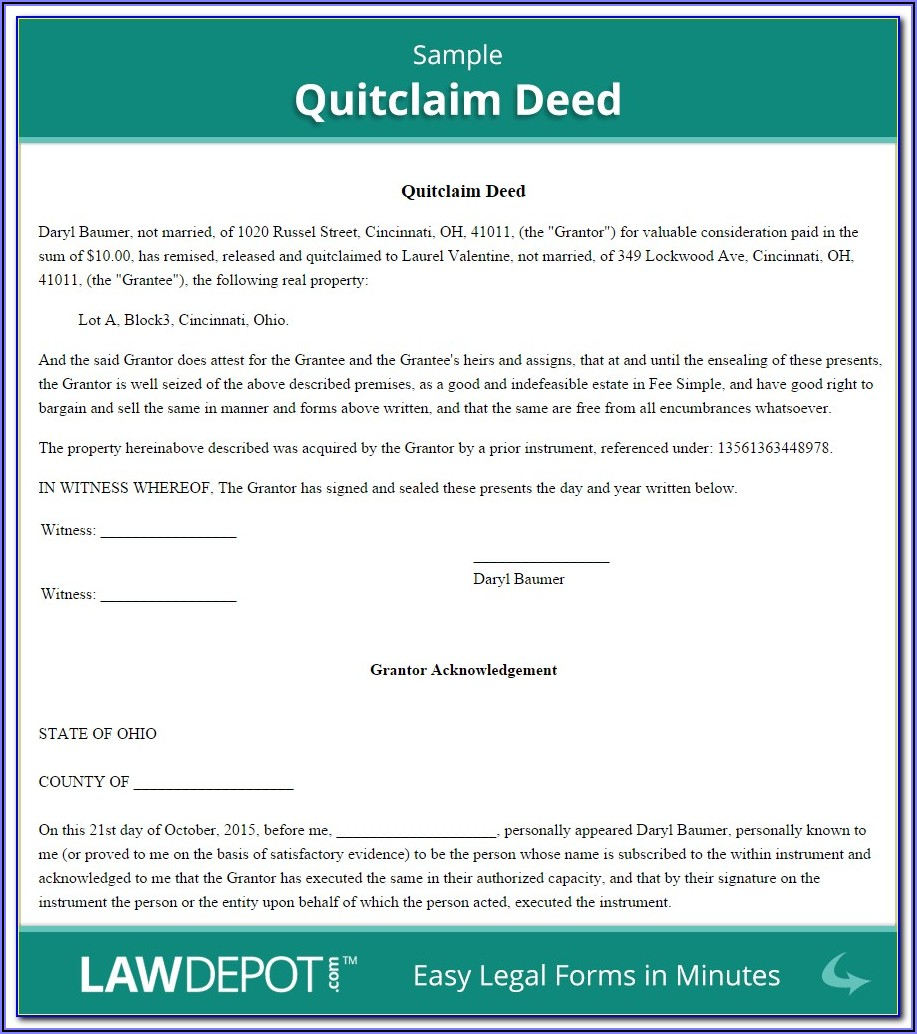Real Estate Quit Claim Deed Form Pdf