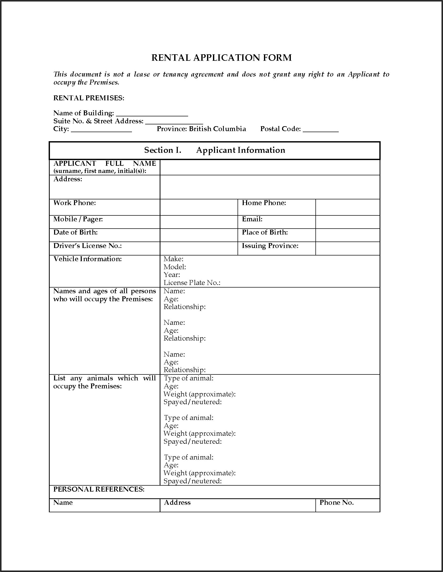 Residential Rental Application Form Bc