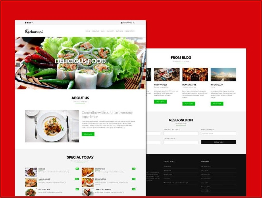 Responsive Restaurant Website Templates Free Download Html With Css