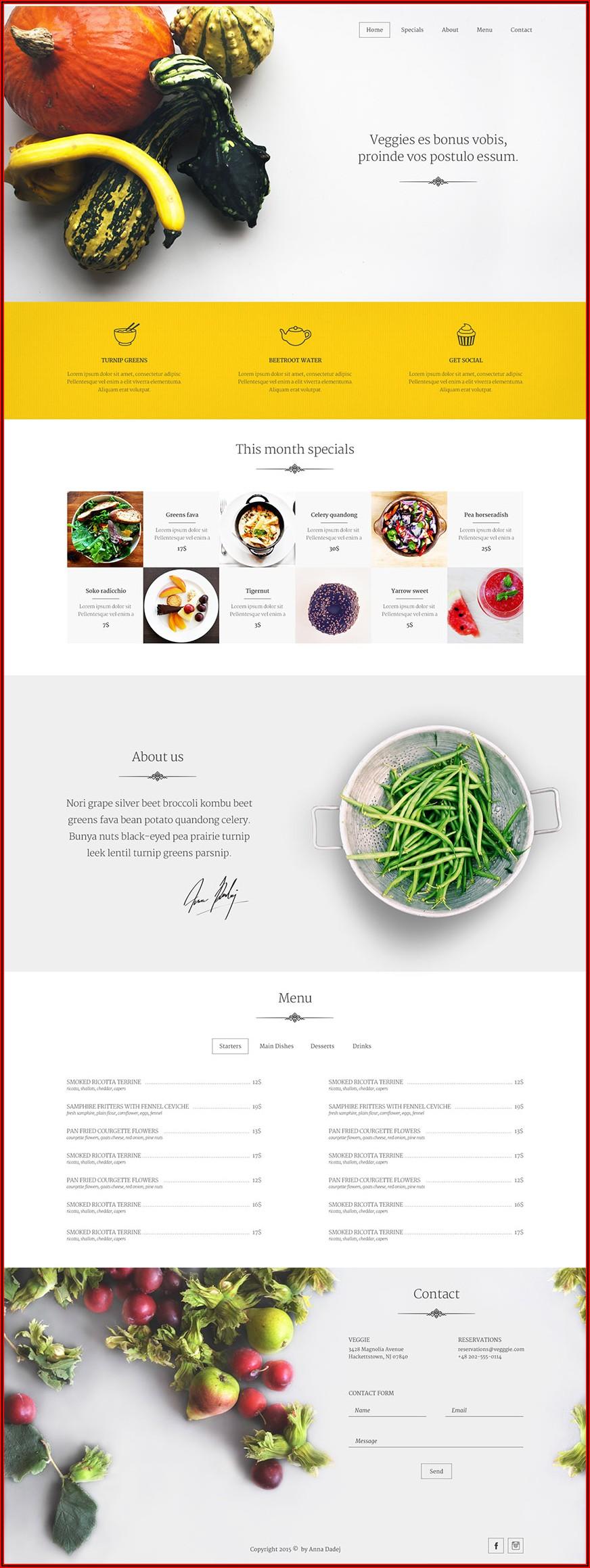 Restaurant Website Design Templates Free Download