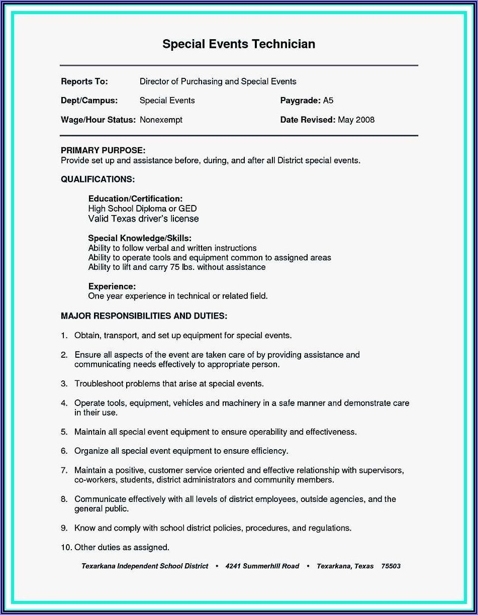 Resume Example For Construction Work