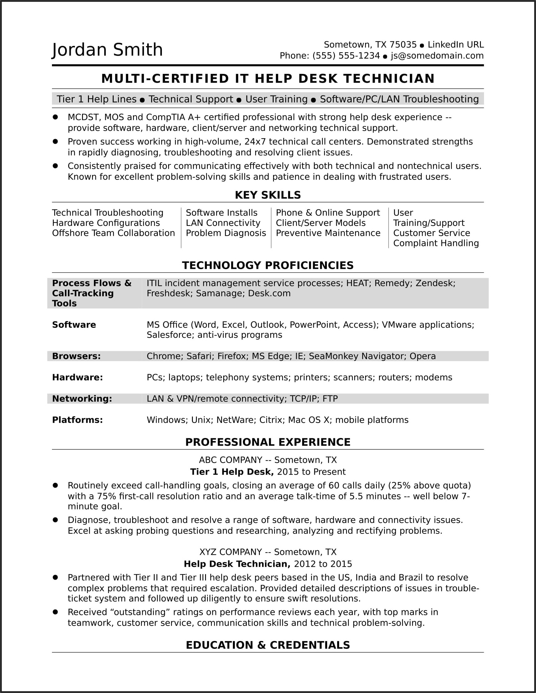 Resume Examples For Education Jobs