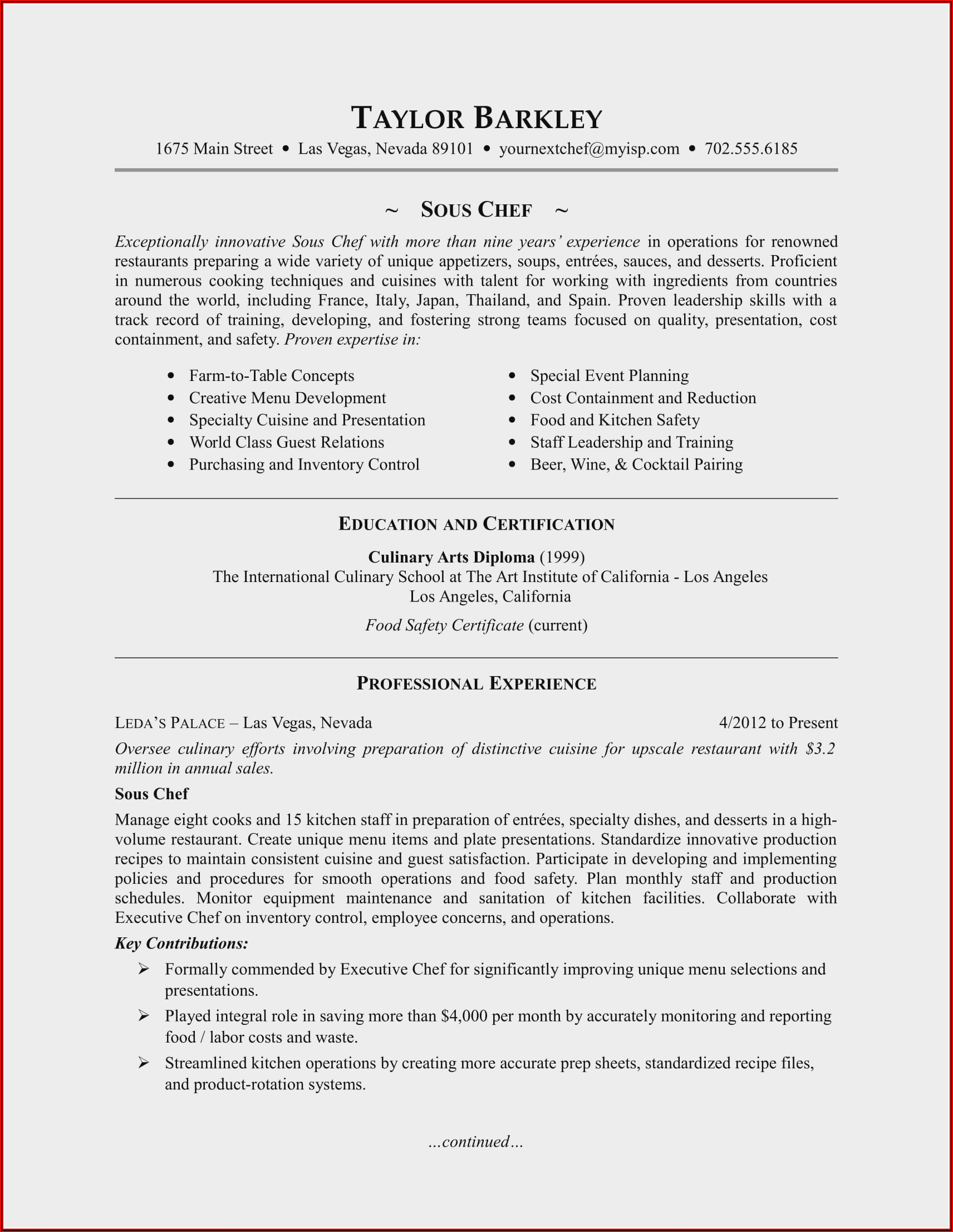 Resume Template For Sous Chef