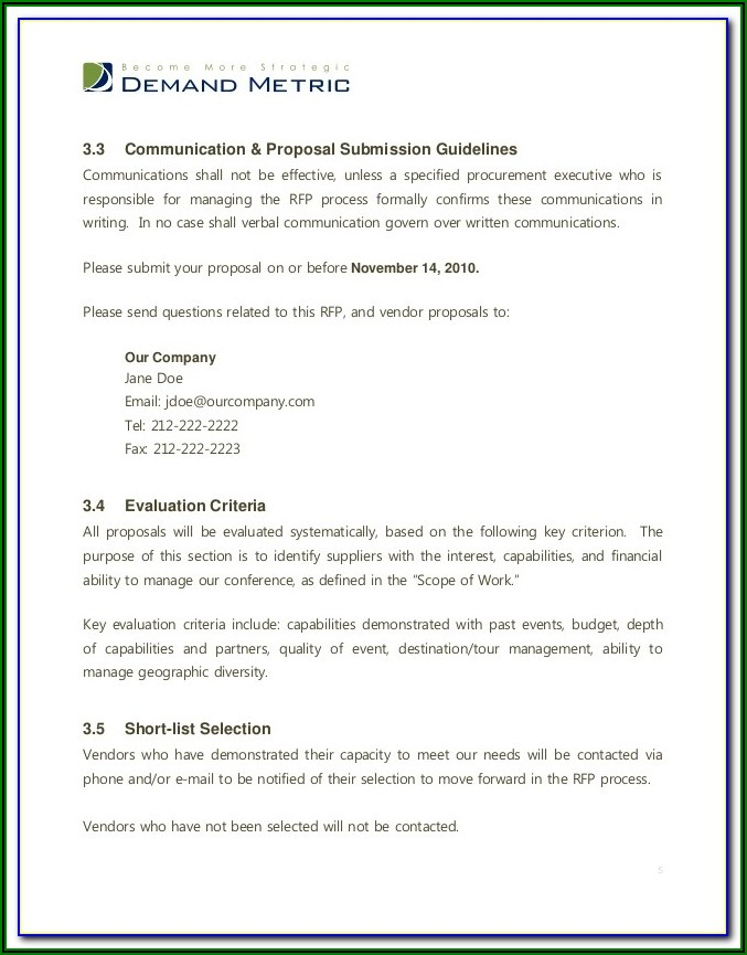 Rfp Submission Email Template