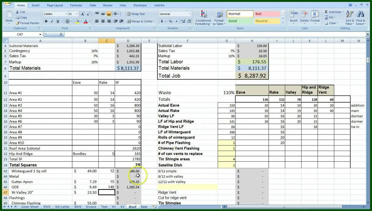 Roofing Estimate Template Excel