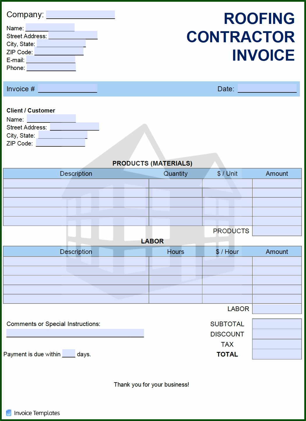 Roofing Invoice Template Excel