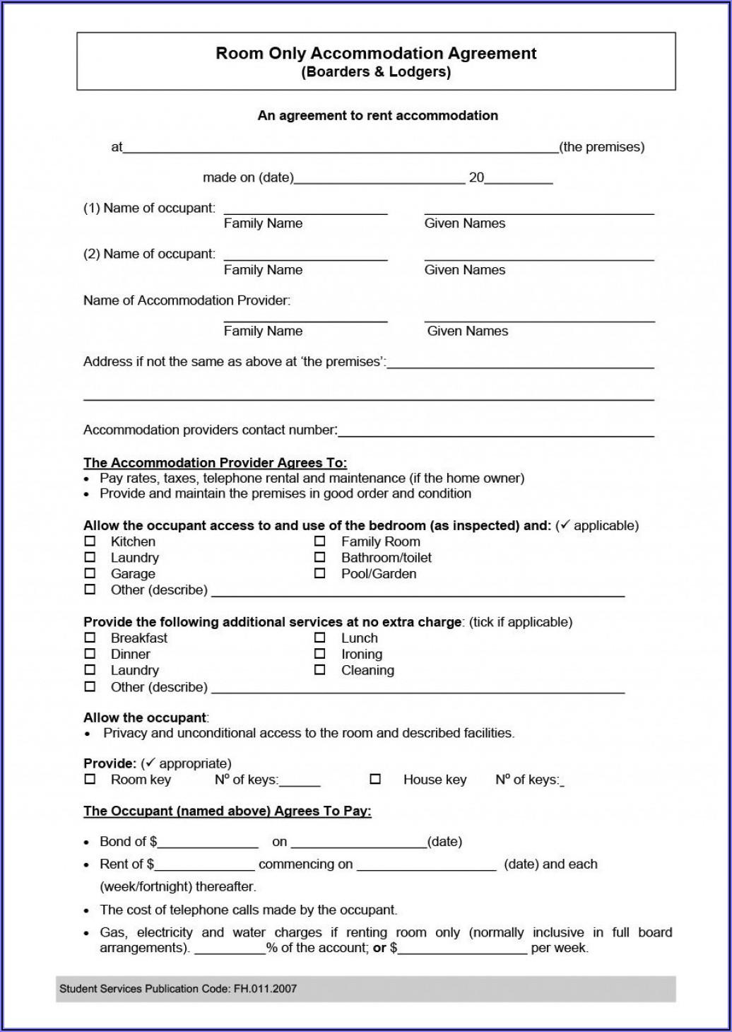 Room Rental Agreement Template Word Doc Singapore