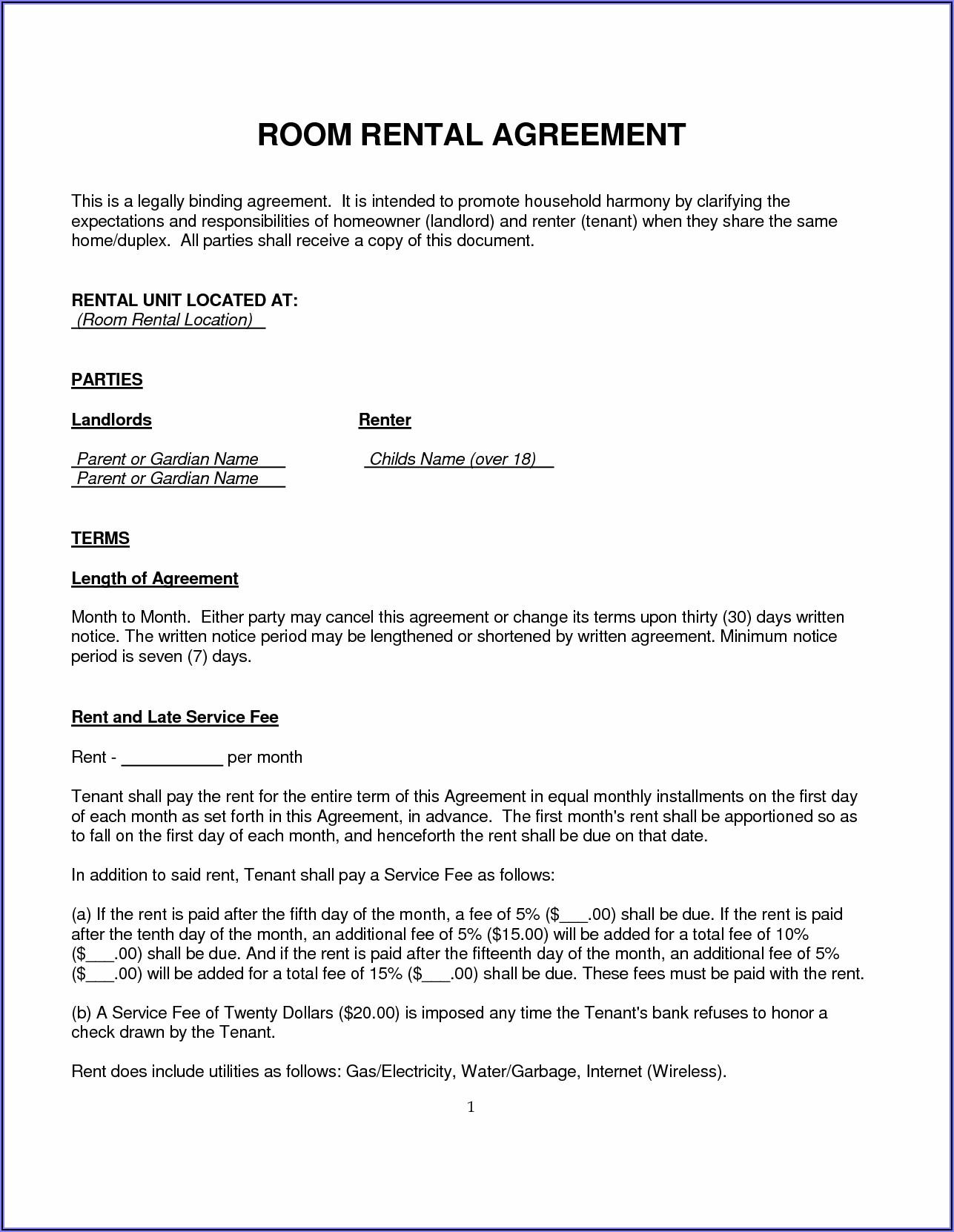 Room Rental Agreement Template Word Doc Uk