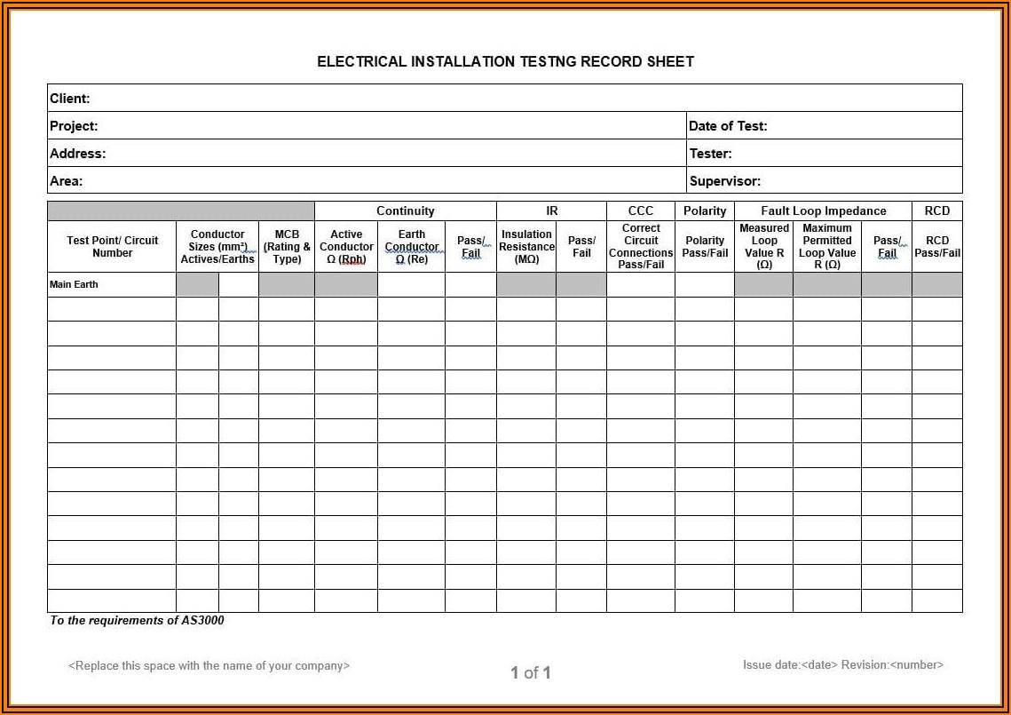Sample Construction Punch List Form