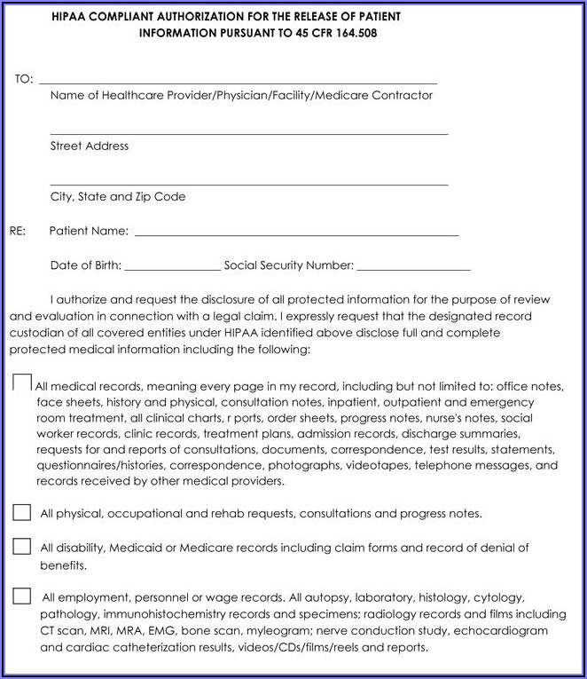 Sample Hipaa Release Form For Employers