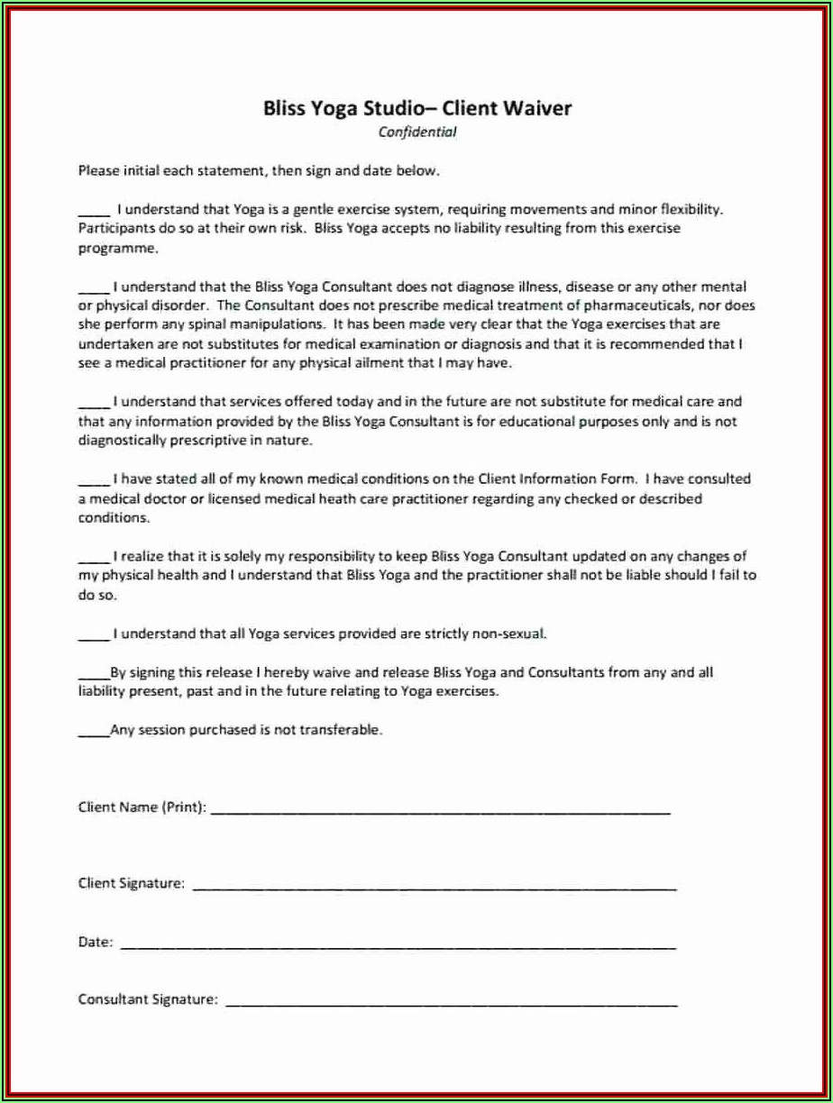 Sample Liability Waiver For Personal Trainers
