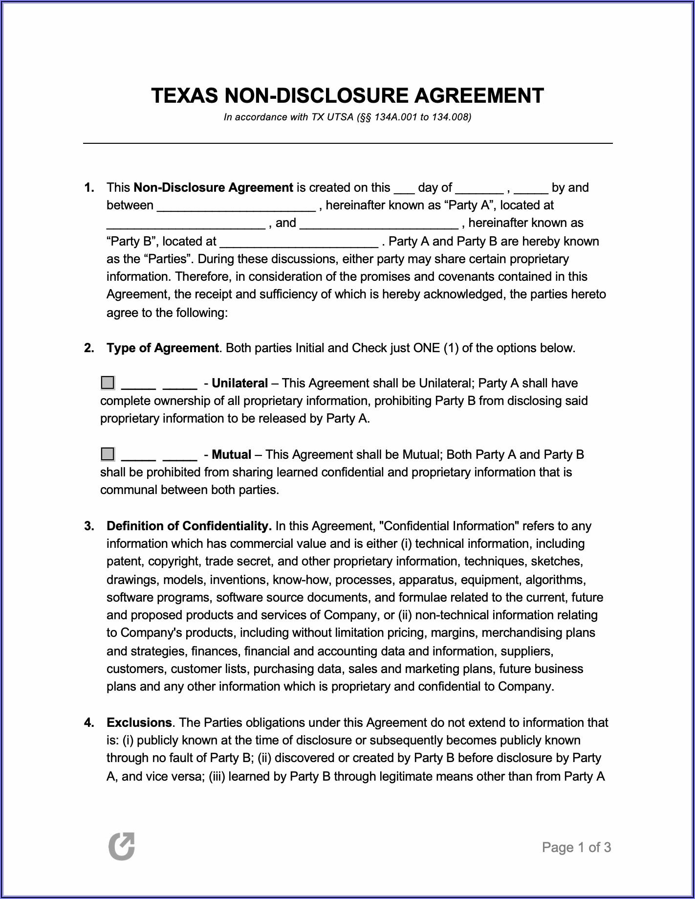Sample Non Disclosure Form