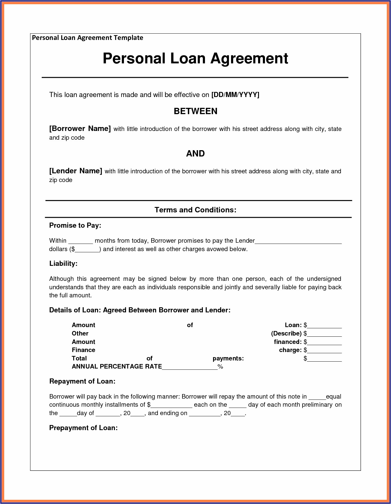 Sample Promissory Notes For Personal Loans To Family And Friends