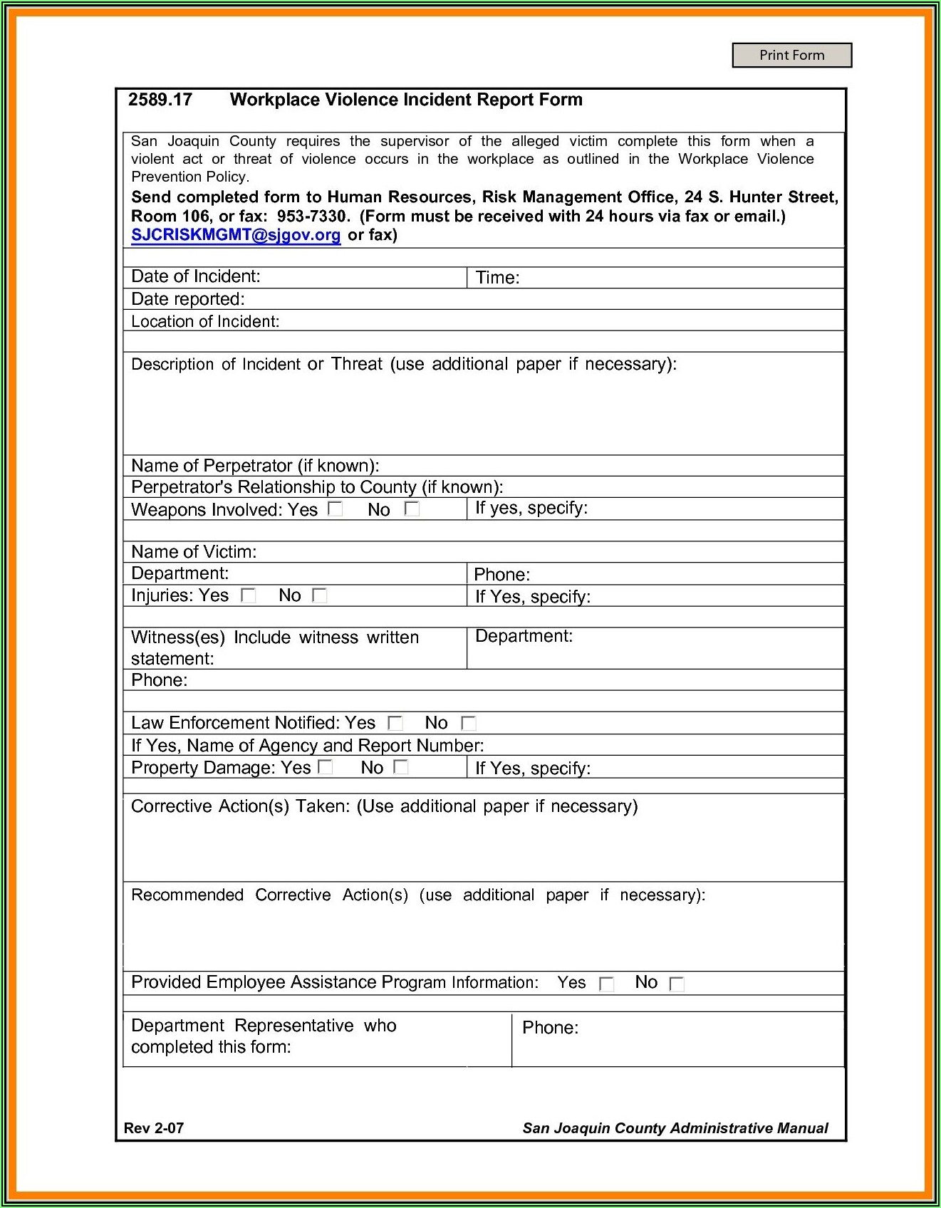 Sample Security Incident Report Form