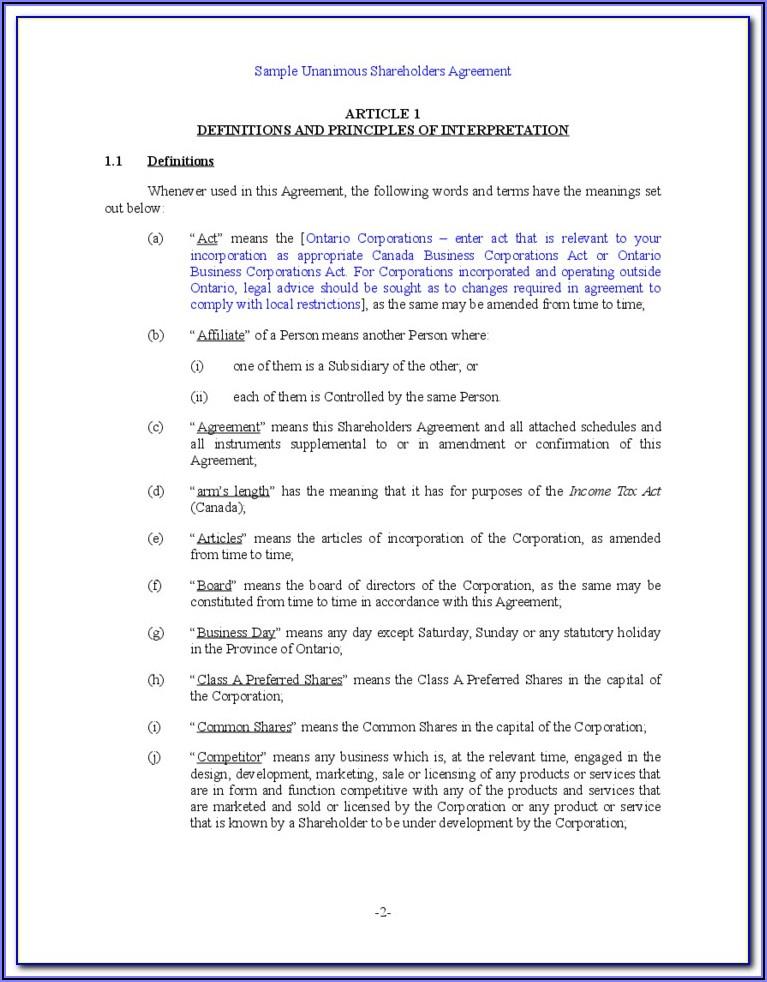Shareholders Agreement Format