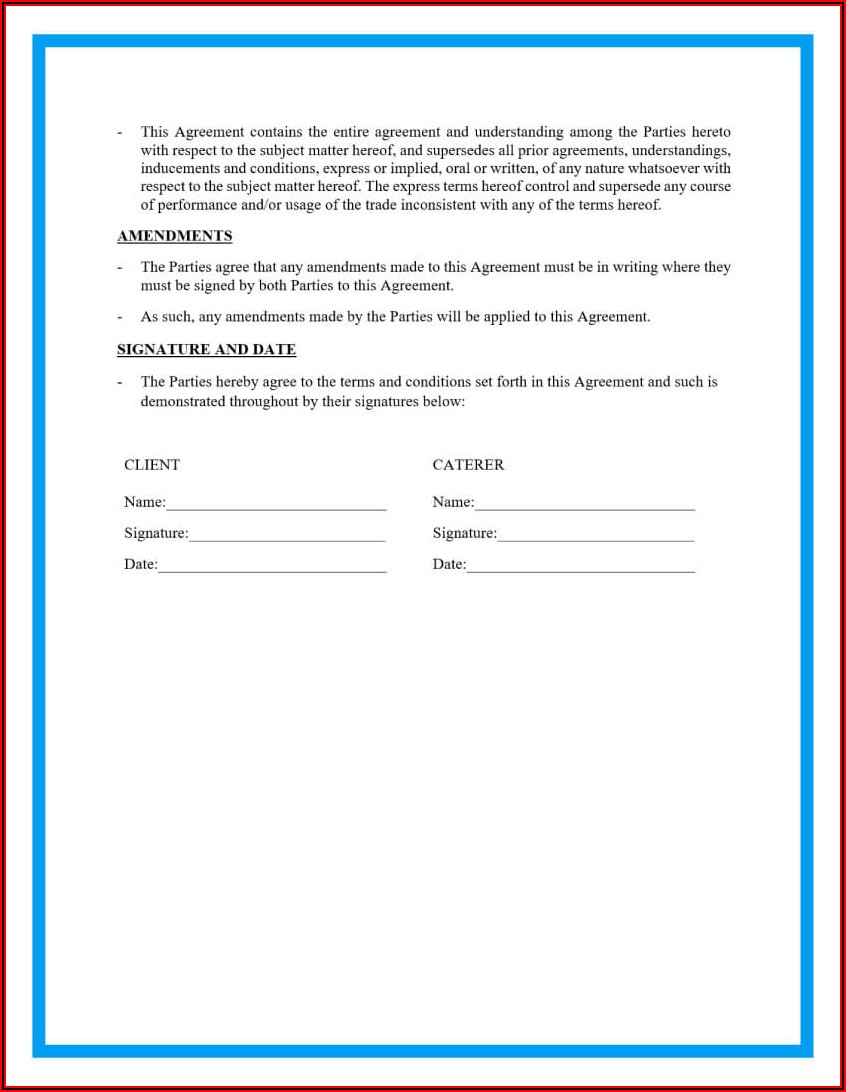 Simple Catering Contract Template