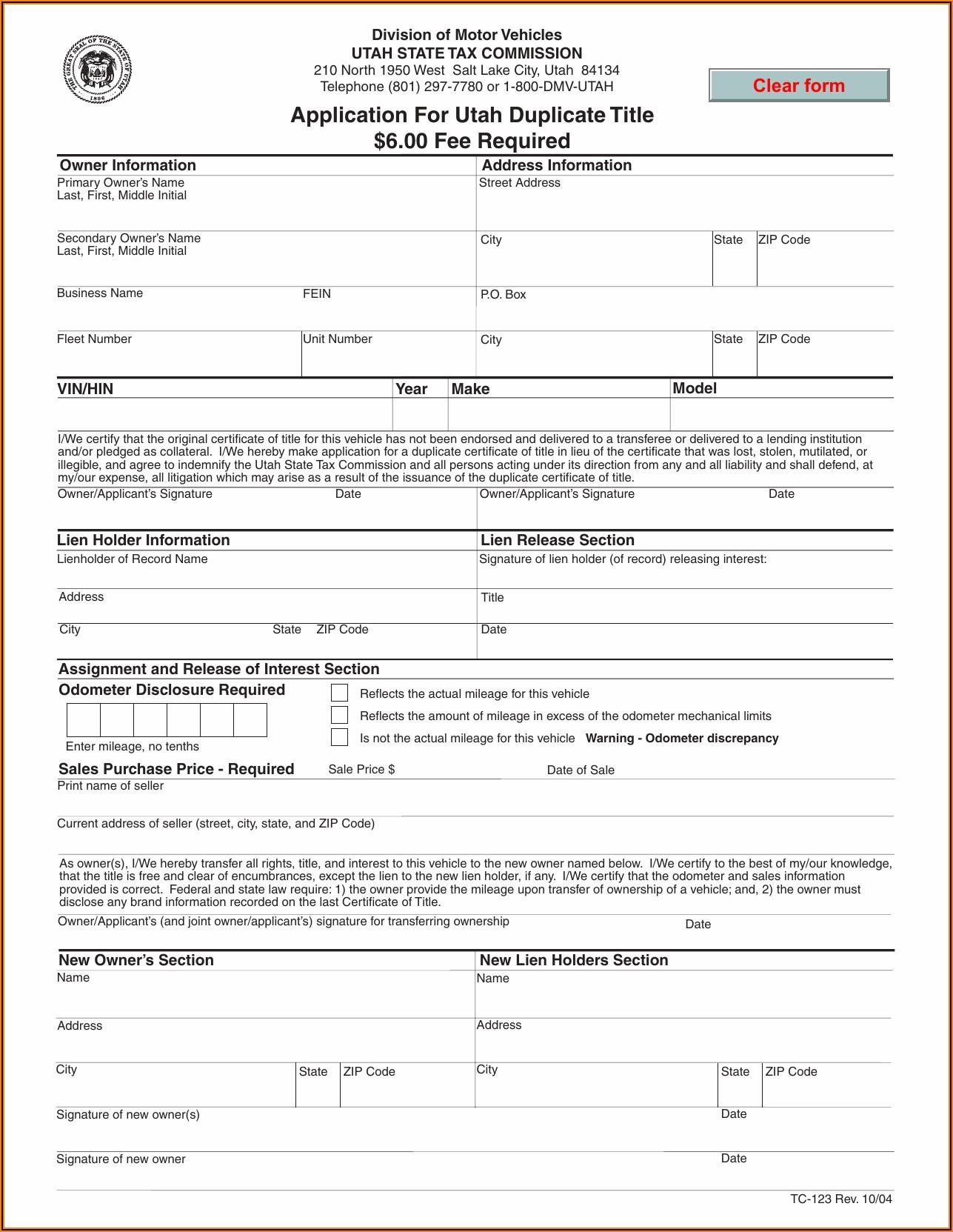 State Of Utah Lien Release Form