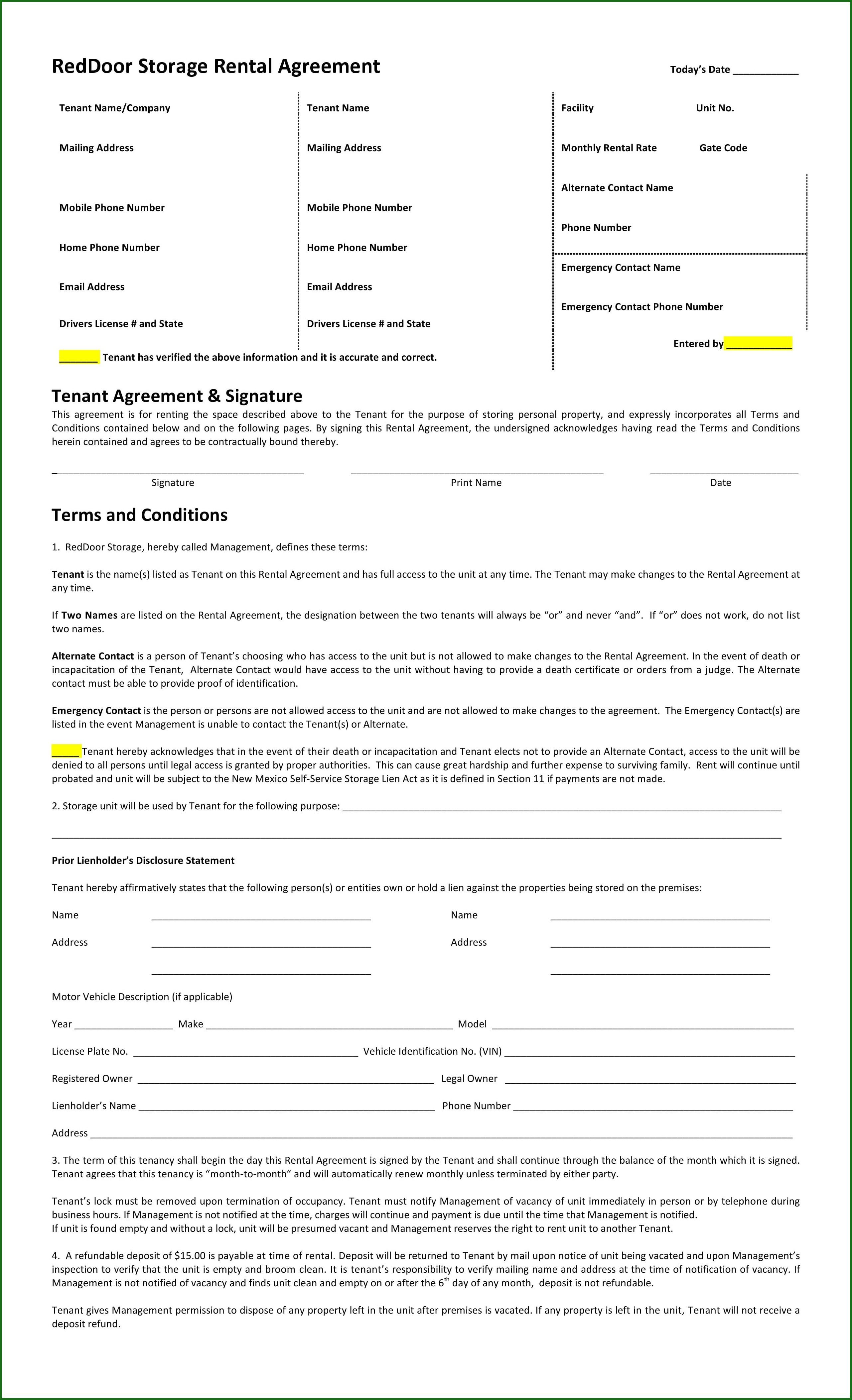 Storage Rental Agreement Template
