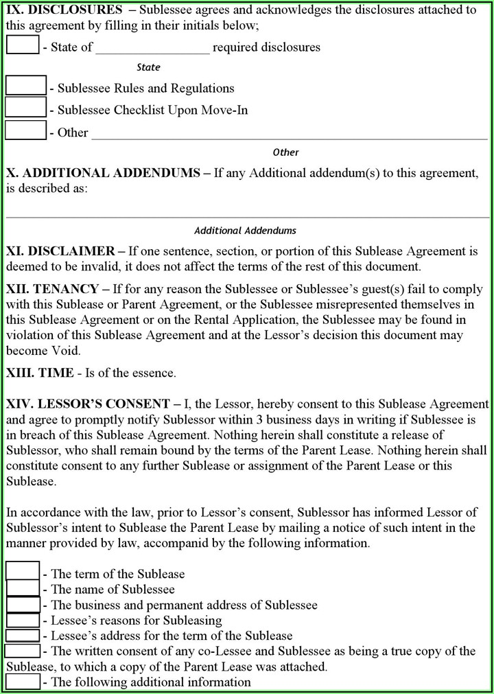 Sublease Rental Agreement Form