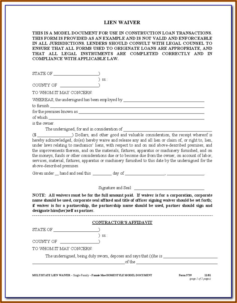 Supplier Lien Waiver Form Free