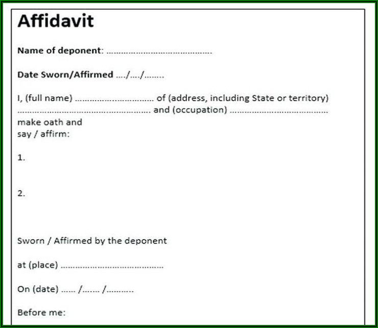 Sworn Statement Template South Africa