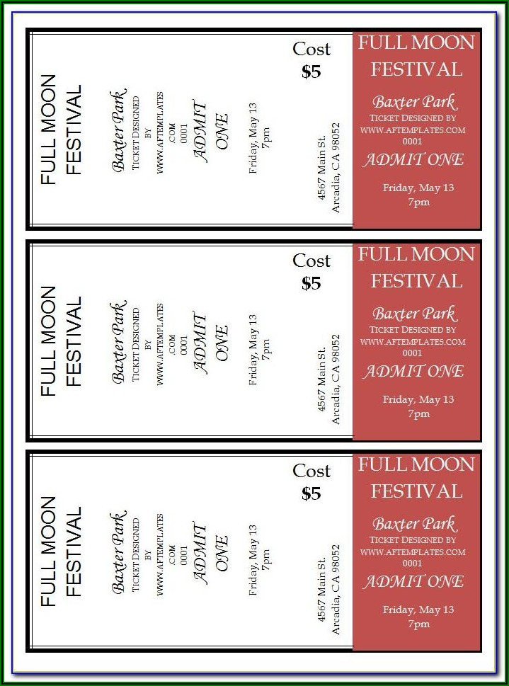 Template For Concert Tickets