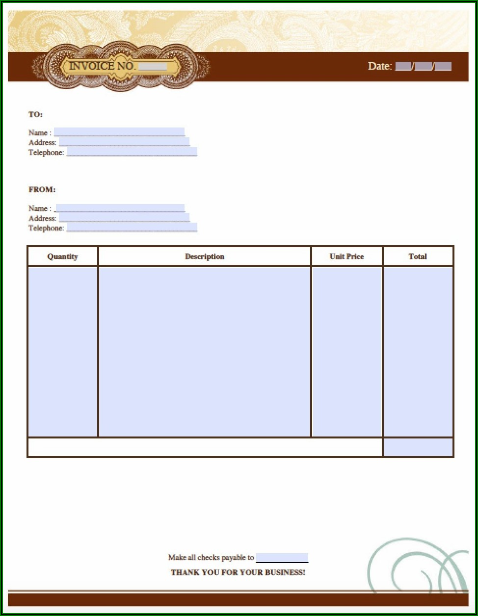 Template Invoice Word Document