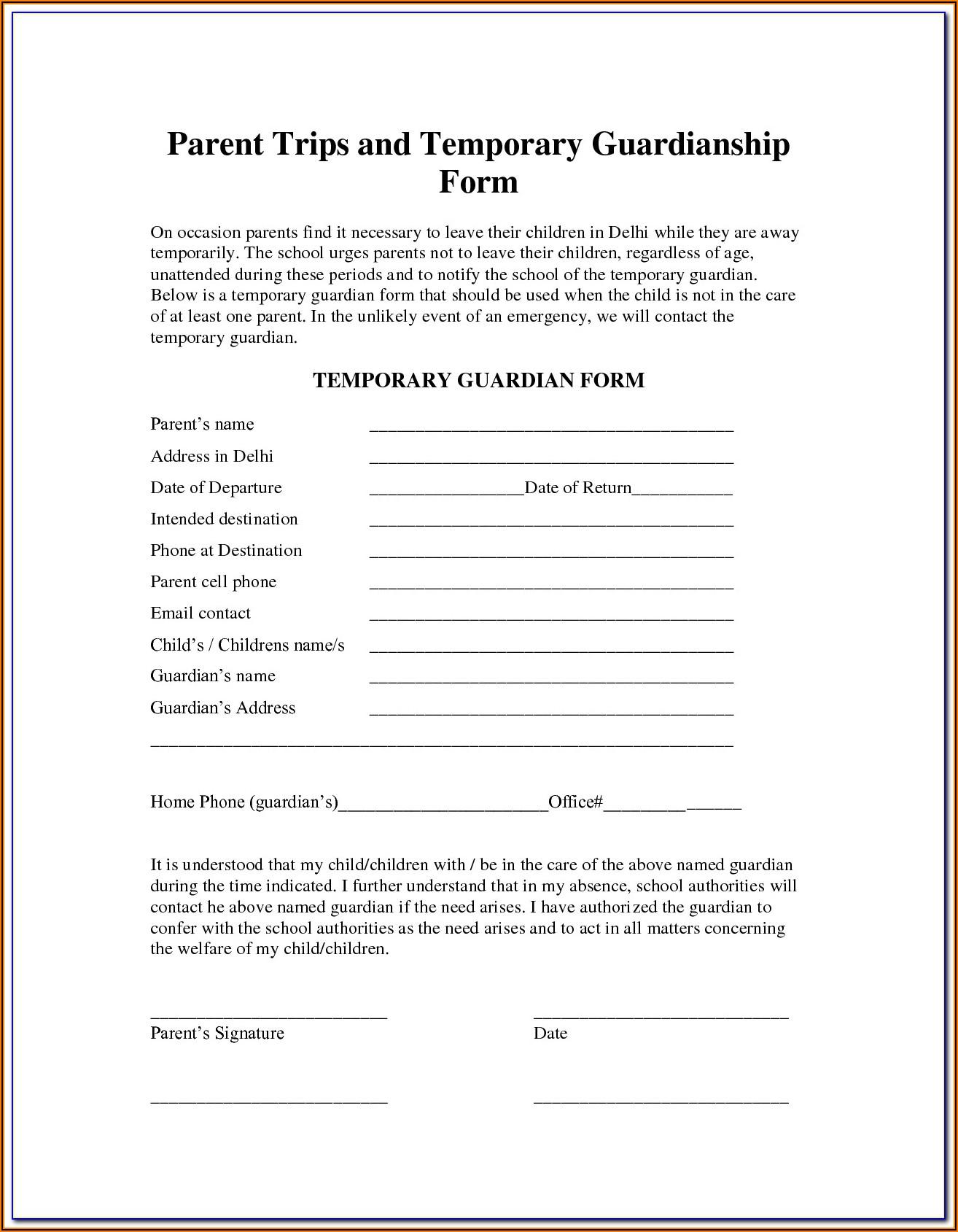 Temporary Guardianship Form Utah