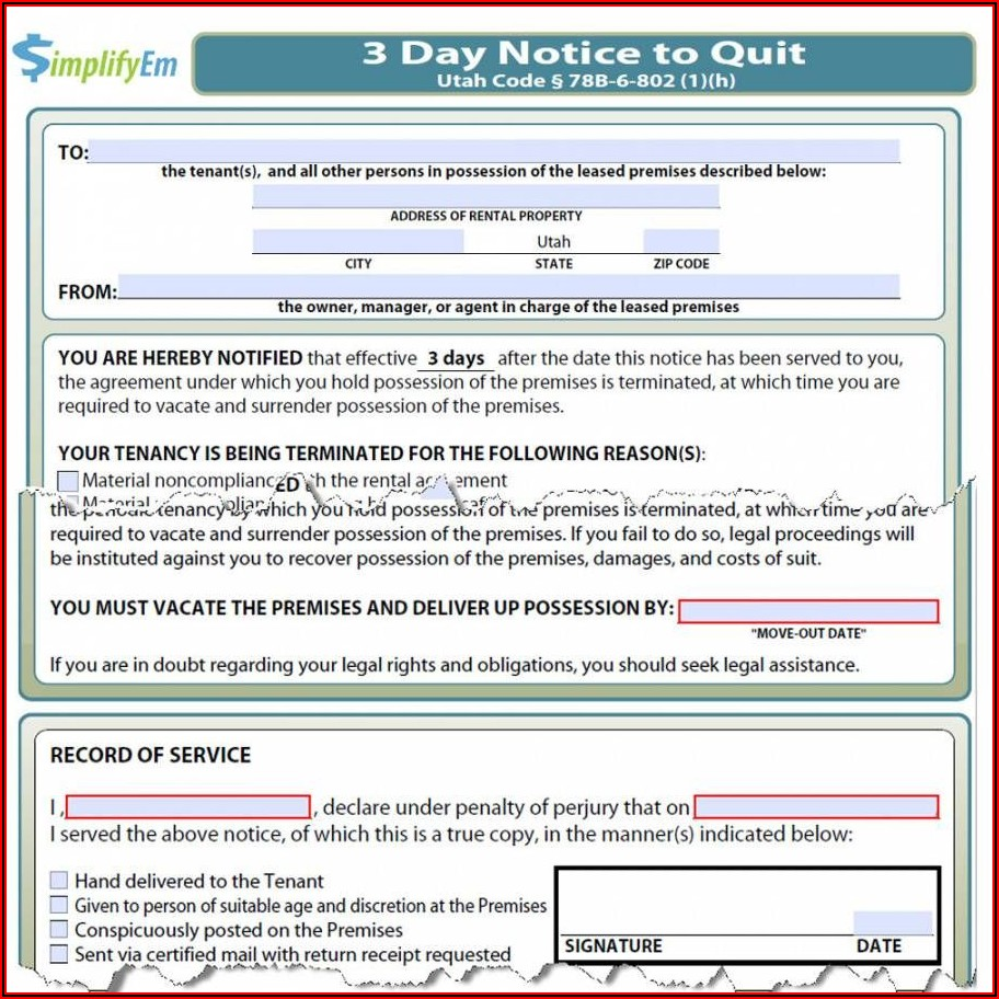Tenant Eviction Notice Template