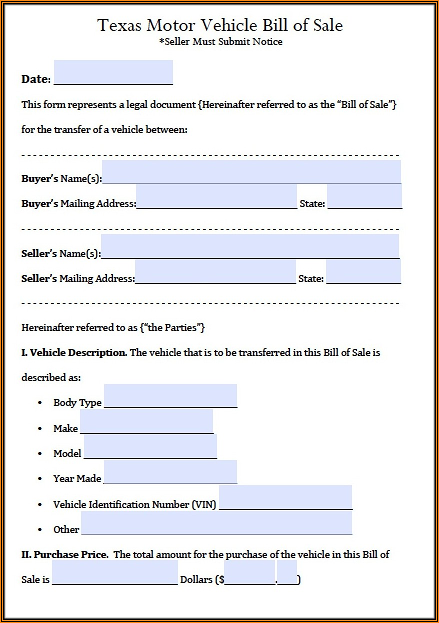 Texas Automobile Bill Of Sale Form Pdf
