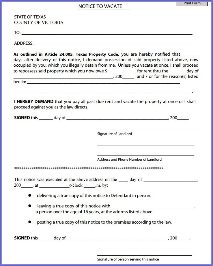 Texas Eviction Notice Forms