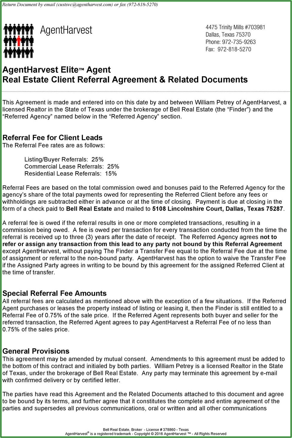 Texas Real Estate Referral Fee Agreement