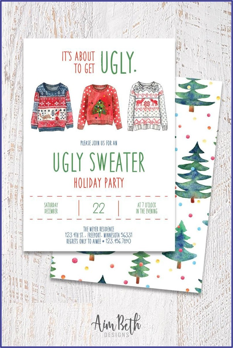 Ugly Christmas Sweater Party Invitations Free Templates