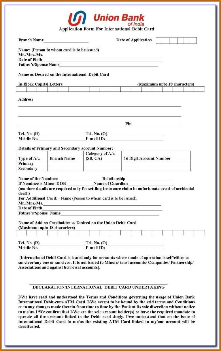 Union Bank Corporate Credit Card Application Form